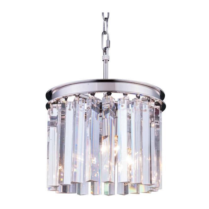 Elegant Lighting Sydney 3 Light Polished Nickel Chandelier With Clear Crystal 1208d12pn Rc The Home Depot