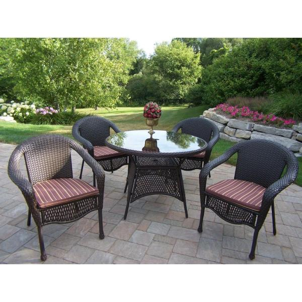 resin wicker patio furniture sets Oakland Living Elite Resin Wicker 5 piece Patio Dining Set