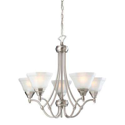 Barcelona 5 Light Satin Nickel Chandelier With Frosted Glass Shade