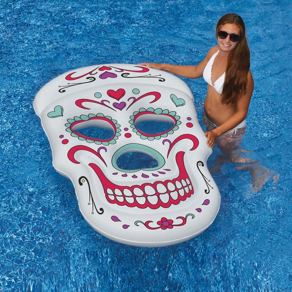 Swimline Sugar Skull 62 In X 40 In Inflatable Pool Float