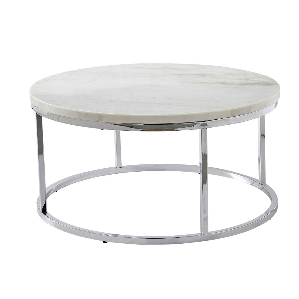 steve silver echo 36 in white chrome medium round marble coffee table with lift top ec100wc the home depot