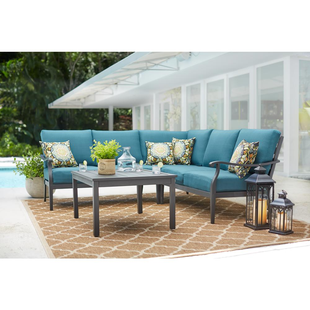 Hampton Bay Riley 3-Piece Metal Outdoor Sectional Set with ... on Riley 3 Piece Sectional Charleston id=31908