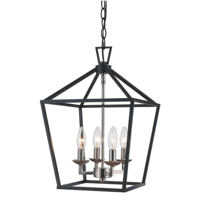 Bel Air Lighting Lacey 4 Light Polished Chrome And Black Pendant