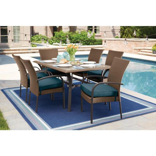 7 piece outdoor wicker patio dining sets Hampton Bay Corranade 7-Piece Wicker Outdoor Dining Set