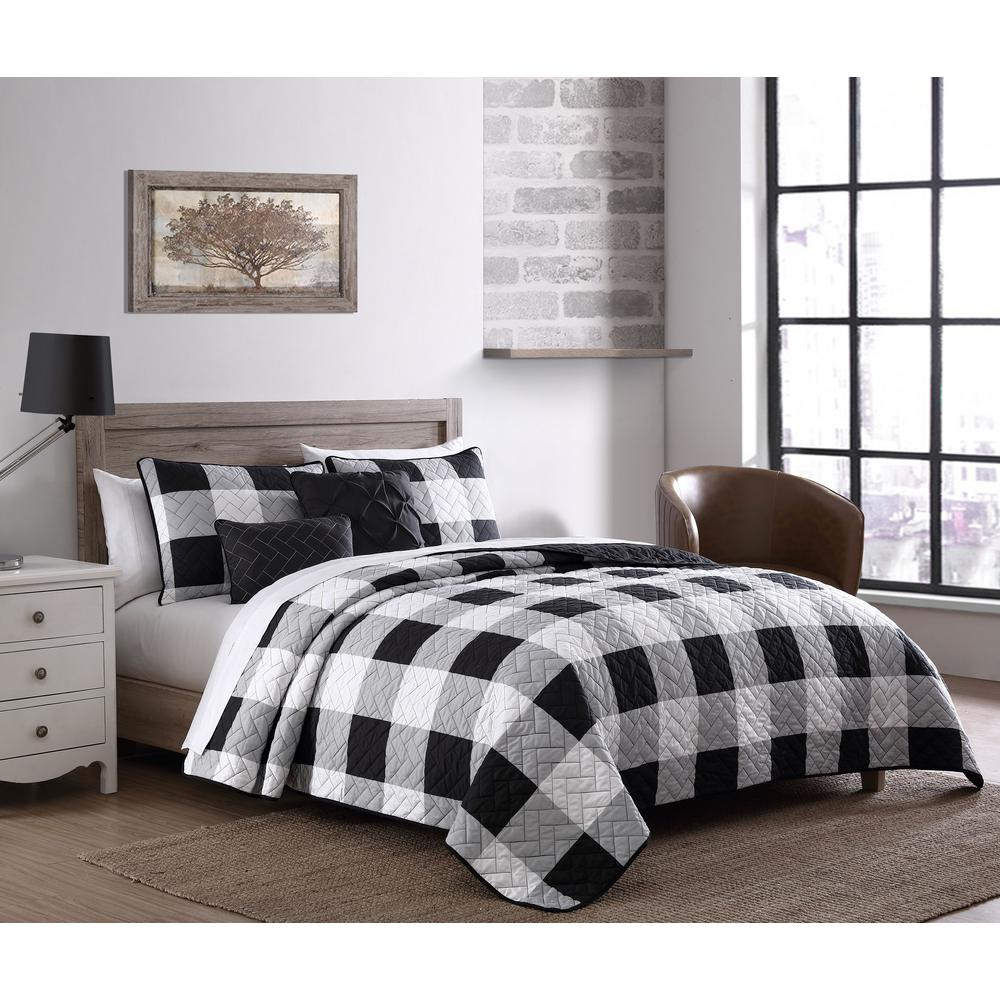 unbranded buffalo plaid 7 piece black and white king comforter set bfp7bbkingghbw the home depot