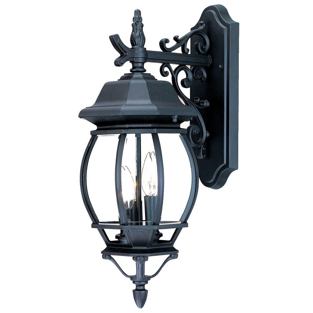 Acclaim Lighting Chateau Collection 3-Light Matte Black ... on Outdoor Lighting Fixtures Wall Mounted id=86726