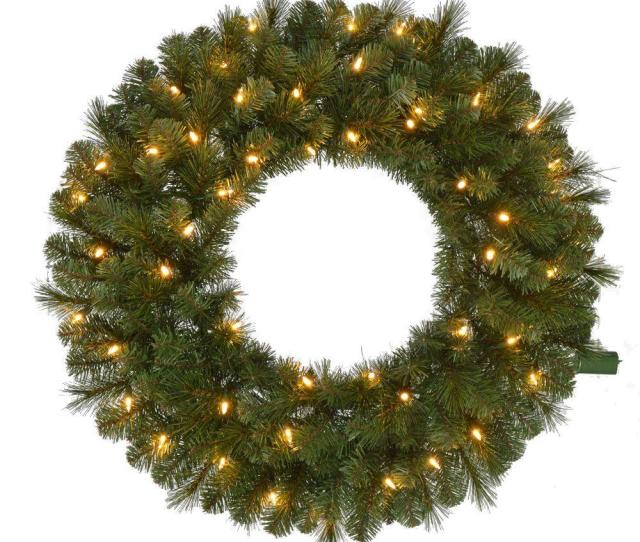 Pre Lit Led Wesley Pine Artificial Christmas Wreath X  Tips With