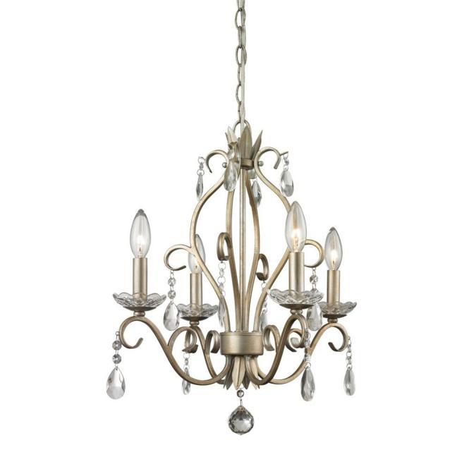 Filament Design Queen 4 Light Antique Silver Chandelier