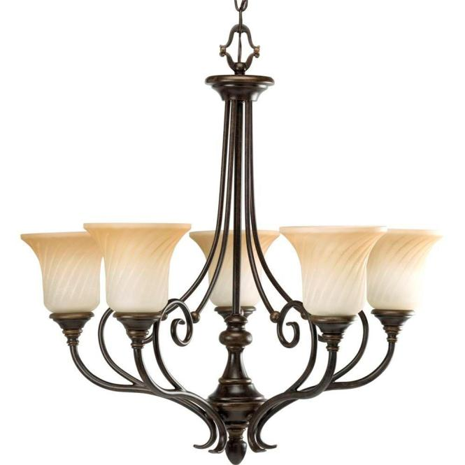 Progress Lighting Kensington Collection 5 Light Forged Bronze Chandelier With Shade Frosted Caramel Swirl Glass P4238 77 The Home Depot