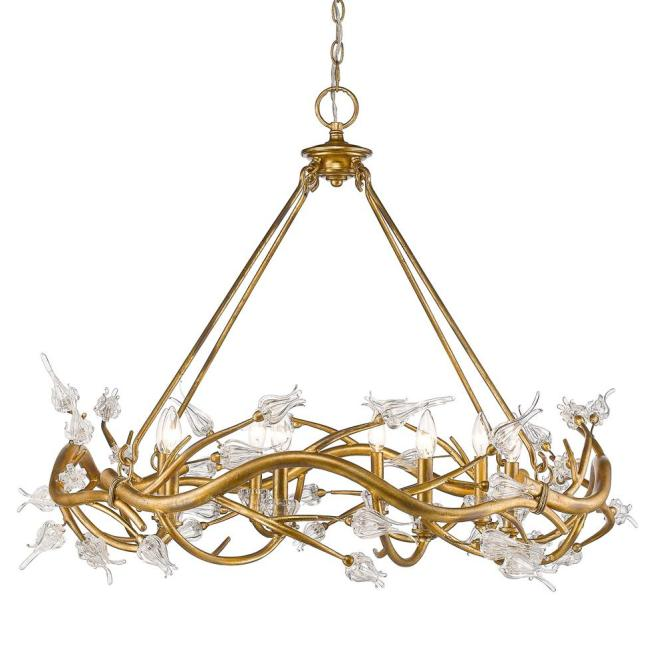 Golden Lighting Aiyana 8 Light Gold Leaf Chandelier With Clear Glass Flower Shades 9942 Gl The Home Depot