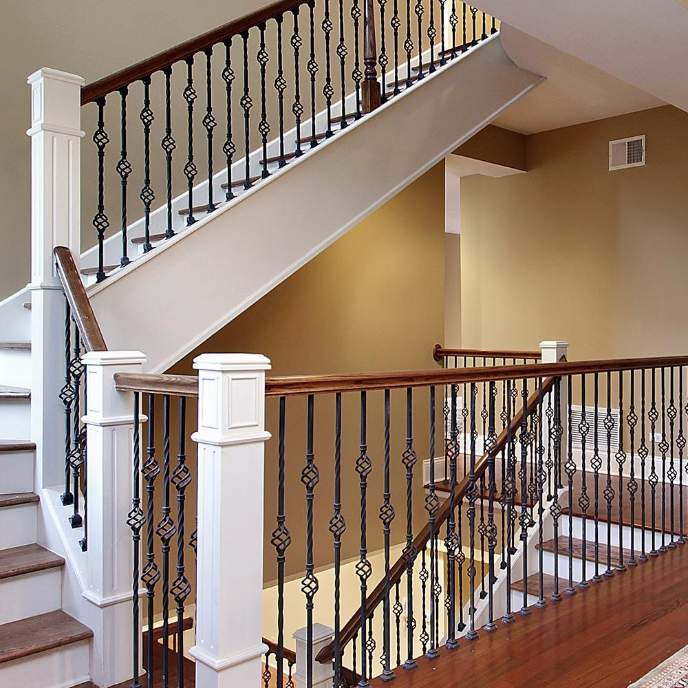 Stair Parts 44 In X 1 2 In Matte Black Metal Double Basket | Black Metal Handrail For Stairs | Rod Iron | Metal Railing | Iron Pipe | Natural Wood | Artistic