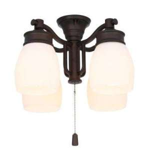Shades   Ceiling Fan Light Kits   Ceiling Fan Parts   The Home Depot 4 Light Maiden Bronze Ceiling Fan Fixture with Cased White Glass