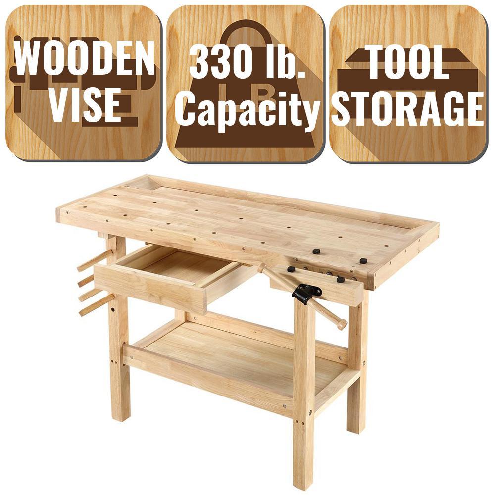 Olympia 4 Ft X 2 Ft 330 Lbs Hardwood Workbench With