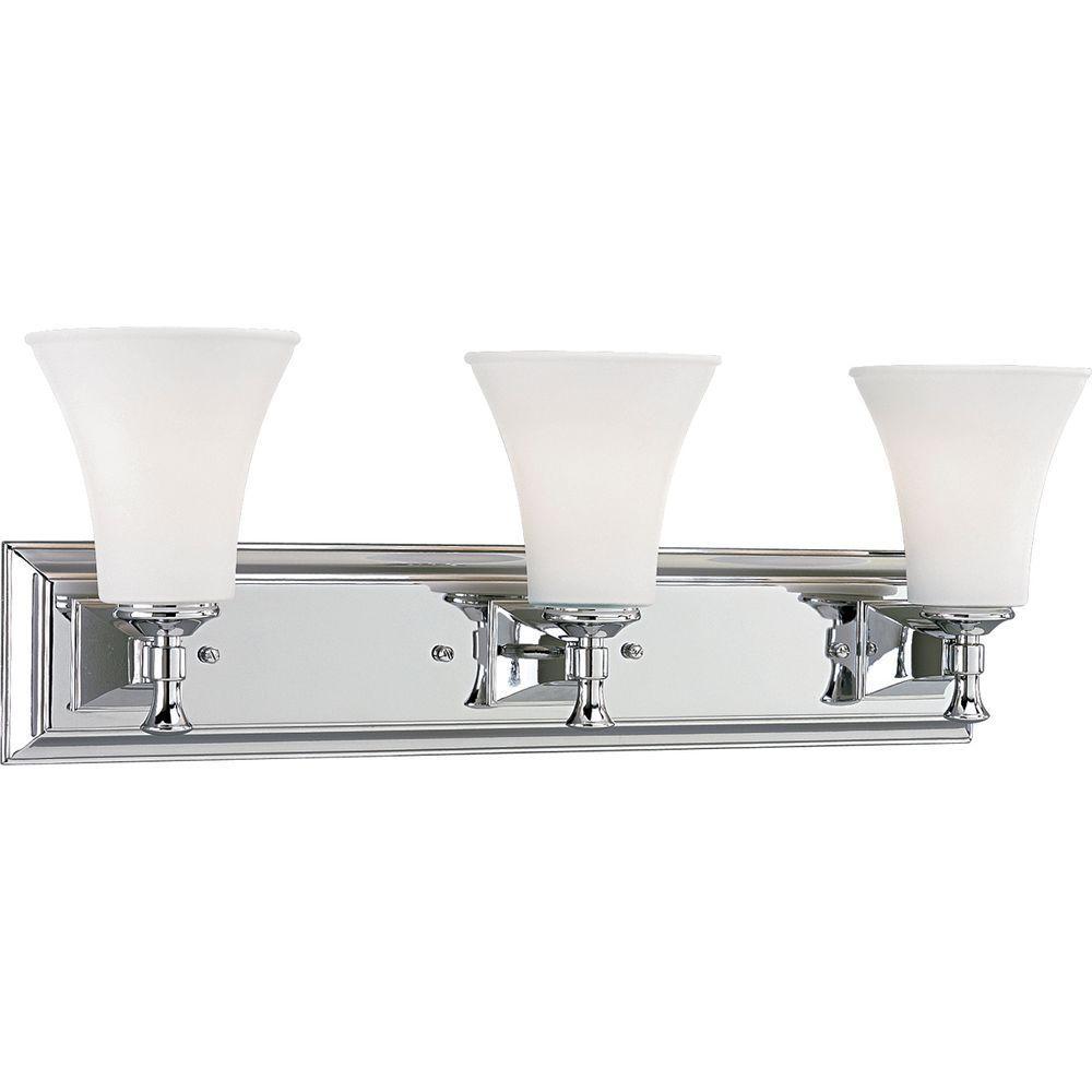 progress lighting fairfield collection 3-light chrome vanity light