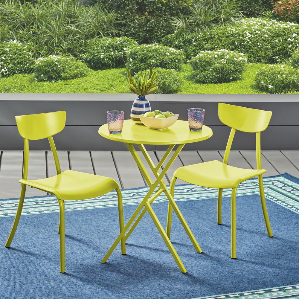 noble house lina matte lime green 3 metal outdoor Green Bistro Set id=46230