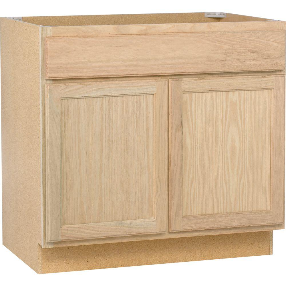 assembled 36x34.5x24 in. sink base kitchen cabinet in unfinished oak