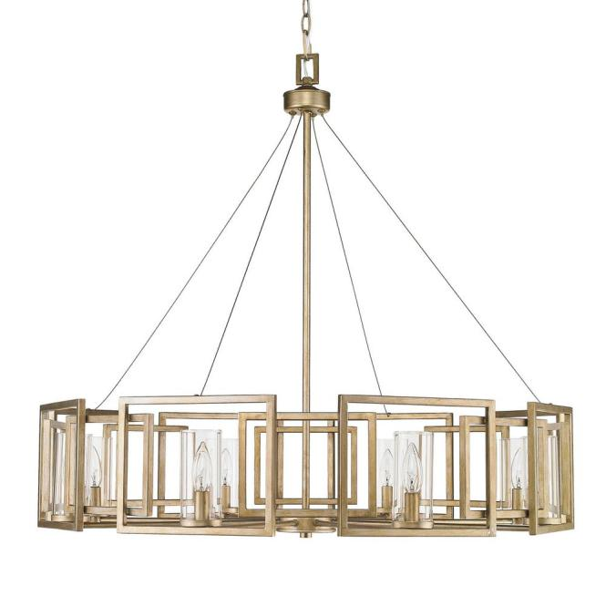Marco 8 Light White Gold Chandelier With Clear Glass Shade