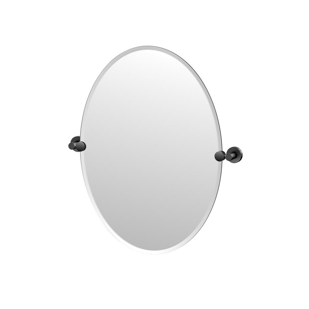 Gatco Glam 20 In W X 27 In H Frameless Oval Mirror In Matte Black 4639MX The Home Depot