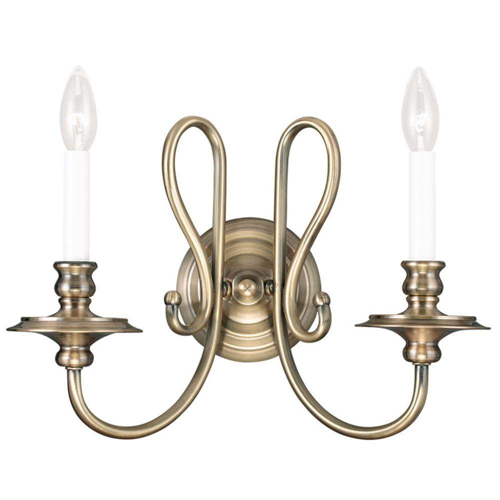Livex Lighting Providence 2-Light Antique Brass ... on Vintage Wall Sconces id=97318