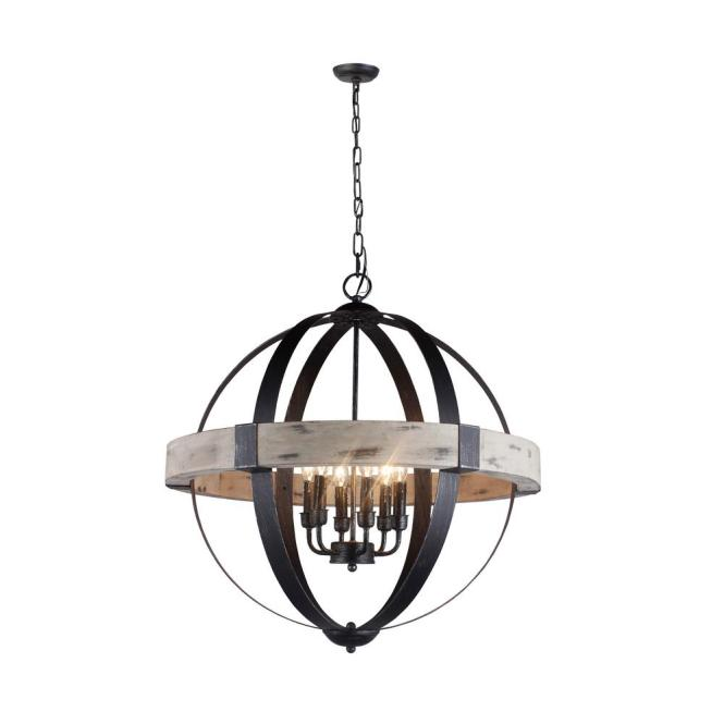 Y Decor Zeus 6 Light Distressed Black Chandelier Wood And Steel Frame
