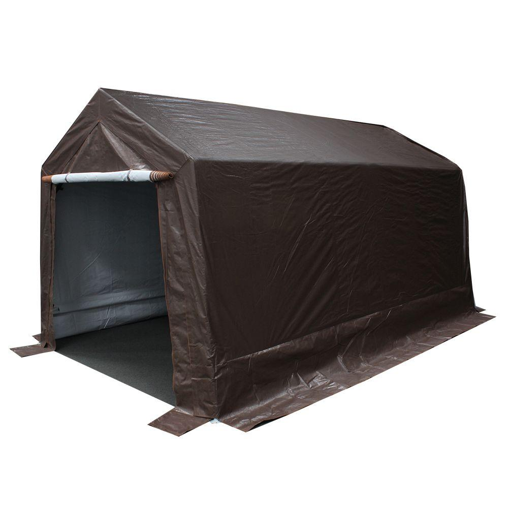 King Canopy 9 Ft W X 14 Ft D Brown Storage Shed G0914b