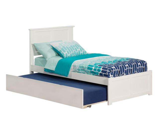 Atlantic Furniture Madison White Twin Platform Bed With Flat Panel Foot Board And Twin Size Urban Trundle Bed Ar8622012 The Home Depot