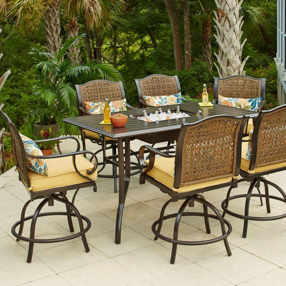 Hampton Bay Vichy Springs  Piece Patio High Dining Set