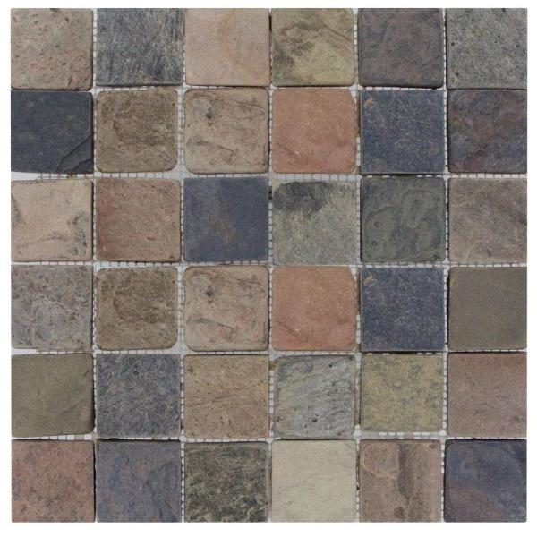 Multi Color   Tile   Flooring   The Home Depot Mixed Color 12 in  x 12 in  x 10mm Tumbled Slate Mesh Mounted