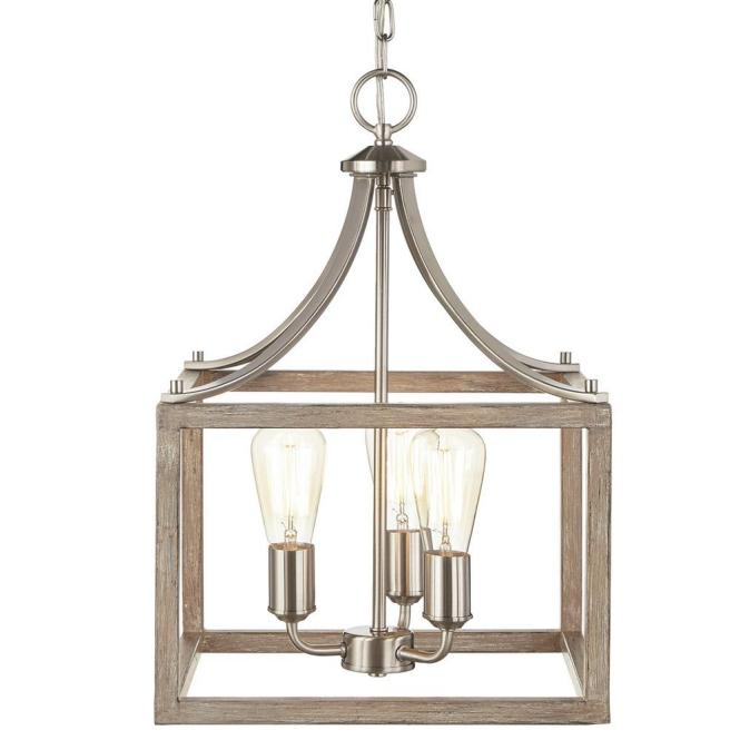 Boswell Quarter Collection 3 Light Brushed Nickel Pendant With Painted Weathered Gray Wood Accents