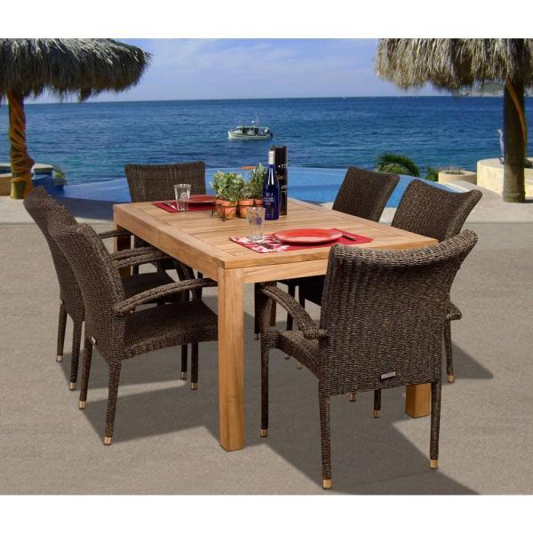 7 piece outdoor wicker patio dining sets Amazonia Brussels 7-Piece Teak/All-Weather Wicker Patio