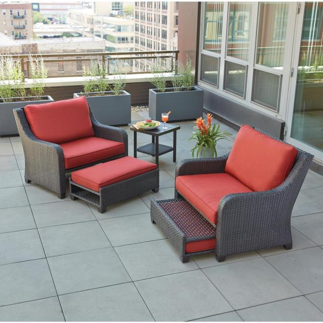 hampton bay sauntera 5-piece wicker patio seating set with red