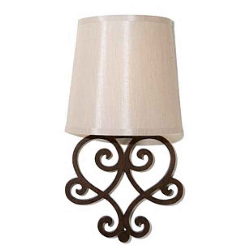 It's Exciting Lighting Heart Bronze Wall Scroll Integrated ... on Battery Powered Wall Sconces id=83302