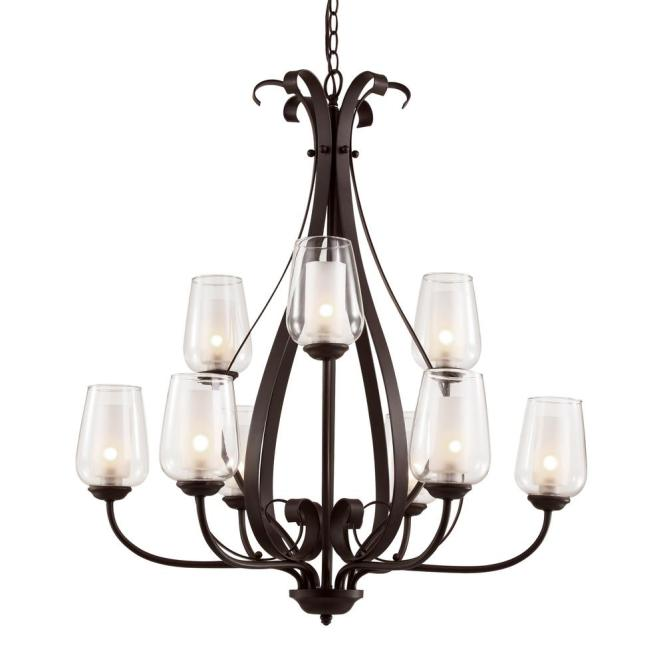 Bel Air Lighting Royal Tempo 9 Light Rubbed Oil Bronze Chandelier With Frosted Shades