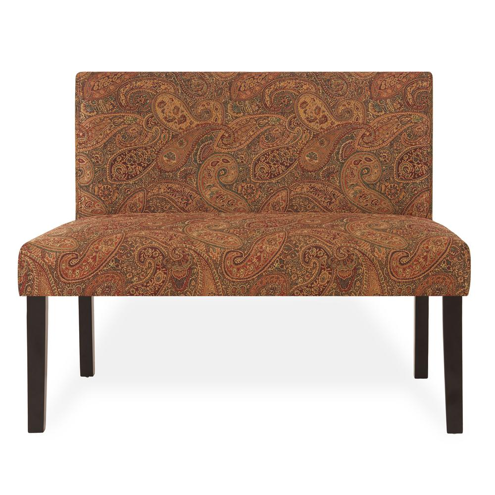 handy living nate 40 5 in multi burgundy paisley pattern polyester 2 seater armless settee with wood legs nat1 lx pgp46 the home depot
