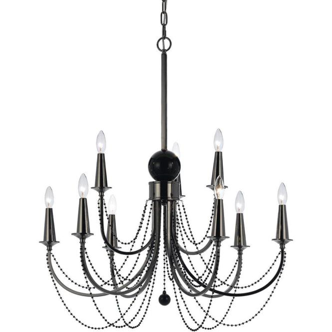 Af Lighting Shelby 9 Light Black Nickel Candle Base Chandelier With Glass Bead Accents