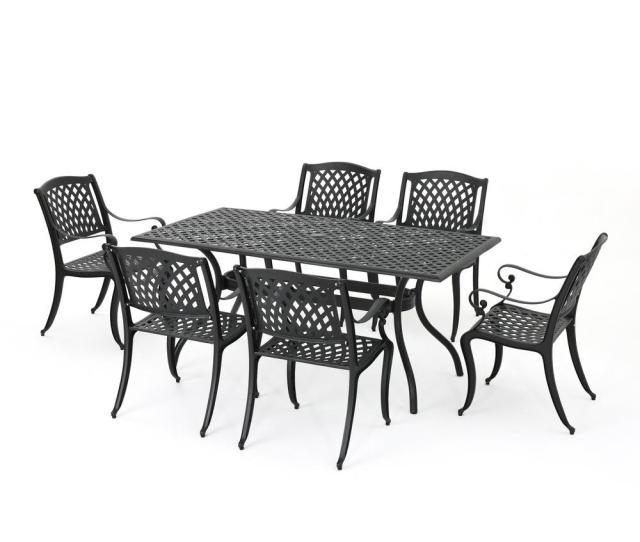 Cayman Black  Piece Aluminum Rectangular Outdoor Dining Set