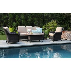sycamore 4 piece resin wicker patio deep seating set with sunbrella canvas heather beige cushions