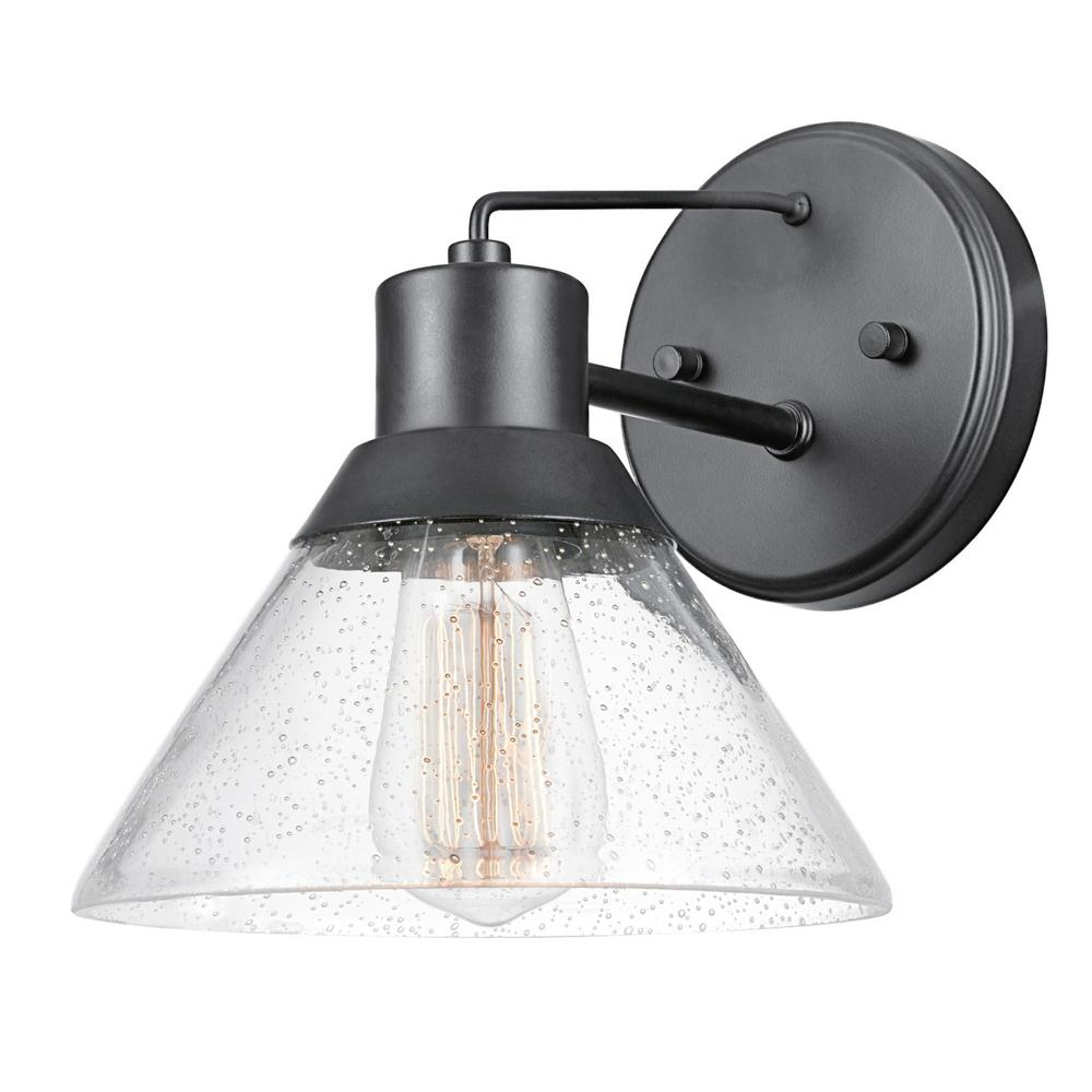 Globe Electric Bolton 1-Light Matte Black Outdoor Indoor ... on Electric Wall Sconces Indoor id=56370