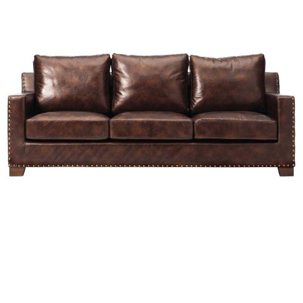 home decorators collection garrison 82 in brown faux leather 3 seater sofa with removable covers 1600400820 the home depot