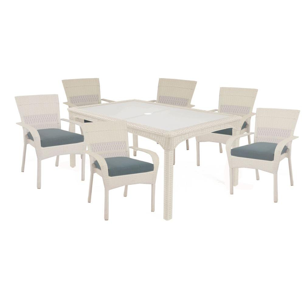 Martha Stewart Living Charlottetown White 7-Piece All ... on Martha Stewart Wicker Patio Set id=70084
