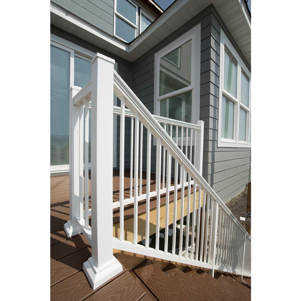 Aria Railing 36 In X 8 Ft White Powder Coated Aluminum | Pre Assembled Stair Railing | Pressure Treated | Aluminum Stair | Deck Railing Systems | Cable Railing Kit | Deckorators