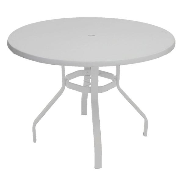 Marco Island 42 in  White Round Commercial Fiberglass Metal Outdoor     White Round Commercial Fiberglass Metal Outdoor Patio Dining Table