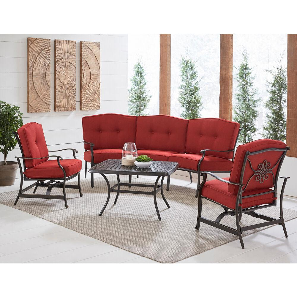 hanover traditions 4 piece aluminum patio conversation set with red cushion cast top coffee table sofa and 2 rockers trad4pcct red the home depot