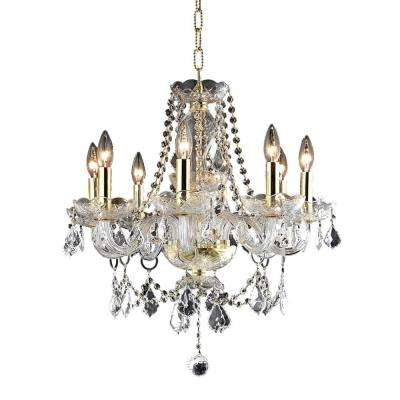 8 Light Gold Chandelier With Clear Crystal