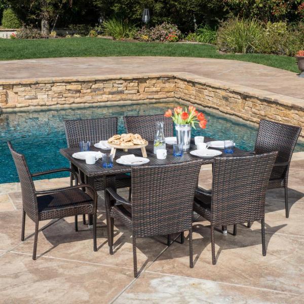 7 piece outdoor wicker patio dining sets Noble House Delani Multi-Brown 7-Piece Wicker Outdoor