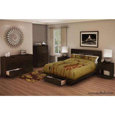 Storage   Queen   Beds   Headboards   Bedroom Furniture   The Home Depot Holland 1 Drawer Full Queen Size Platform Bed in Chocolate