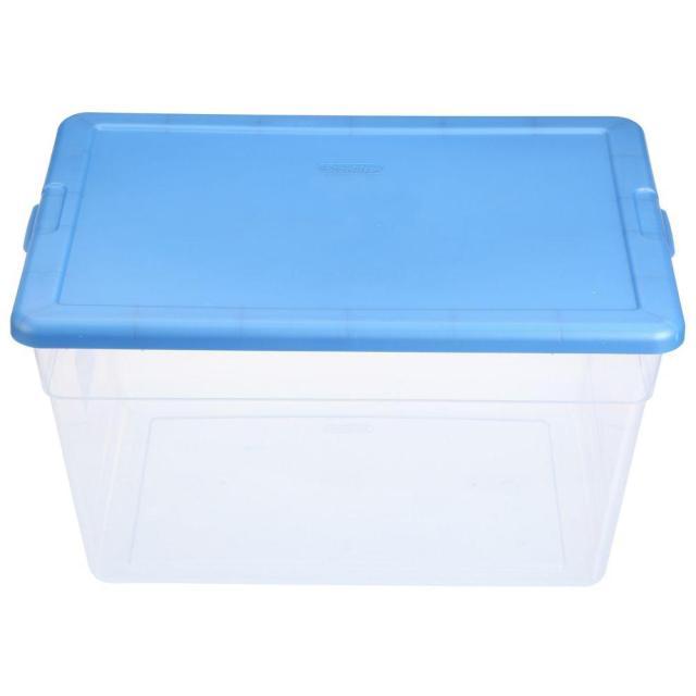 Sterilite 56 Qt Storage Box In Blue And Clear Plastic