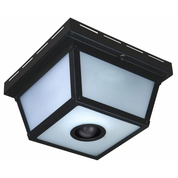 Hampton Bay 360     Square 4 Light Black Motion Sensing Outdoor Flush     Hampton Bay 360     Square 4 Light Black Motion Sensing Outdoor Flush Mount