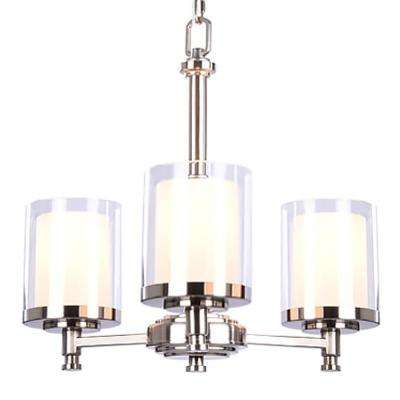 Burbank 3 Light Brushed Nickel Chandelier With Dual Glass Shades