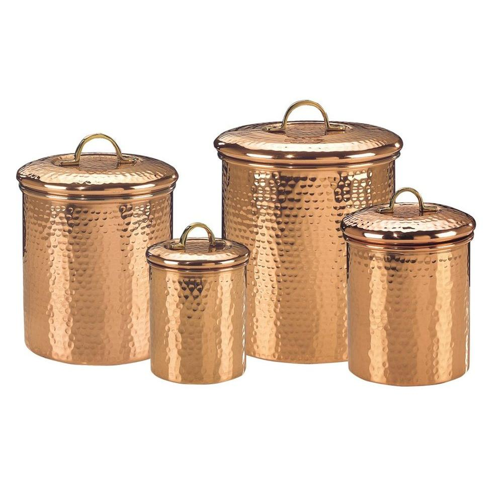 old dutch decor copper hammered canister set 4 piece 843 the home depot